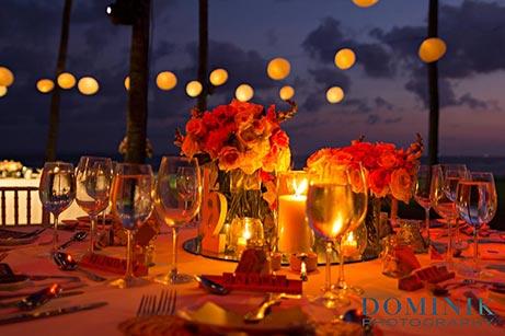 Bali sunset wedding reception table