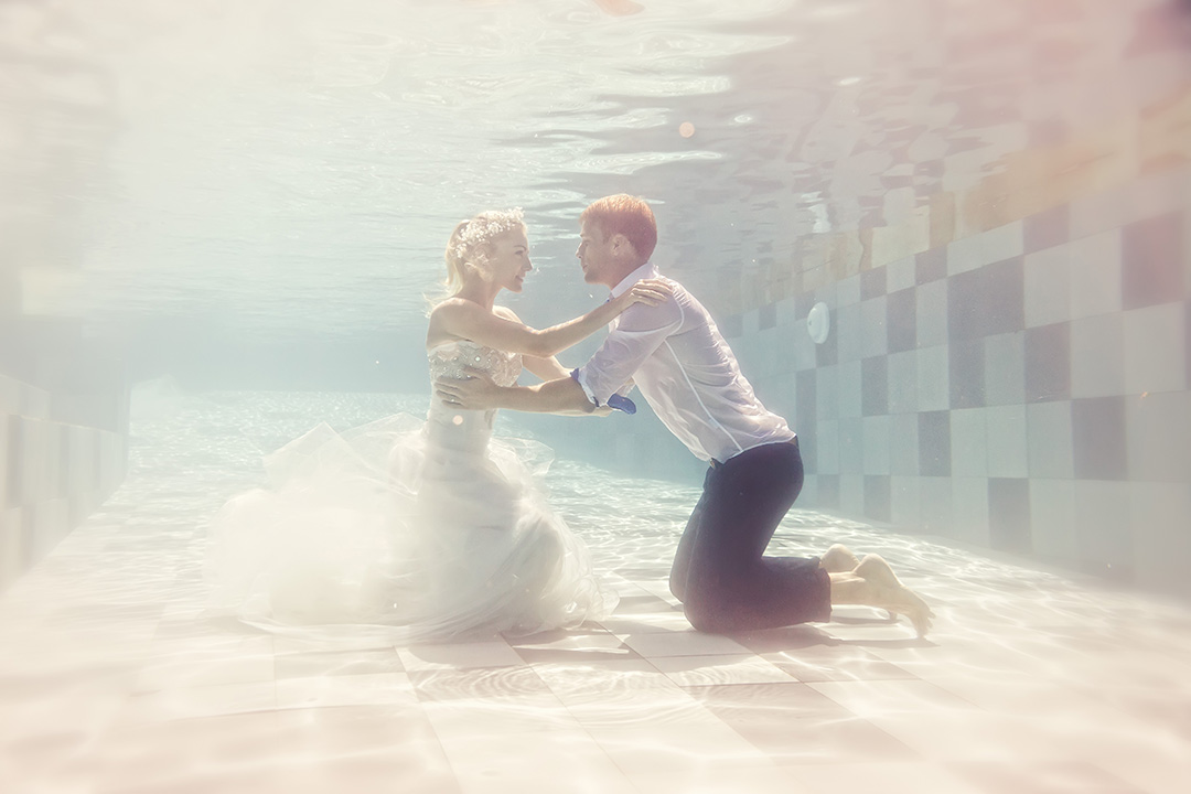 Bali under water wedding photos