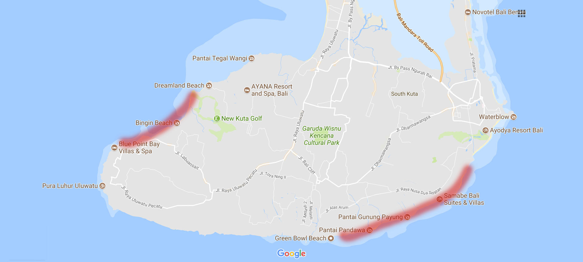 locations of clifftop villas in Bali
