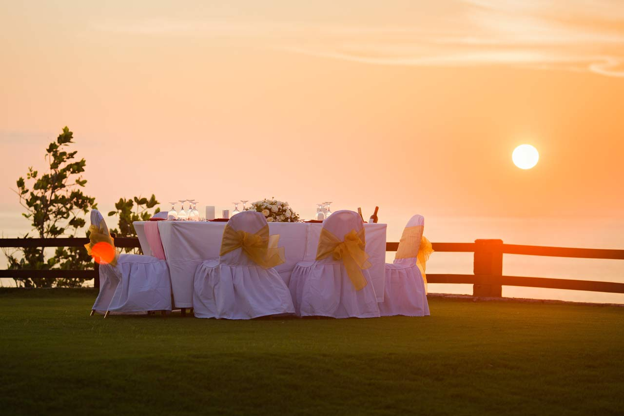 sunset beach wedding Bali
