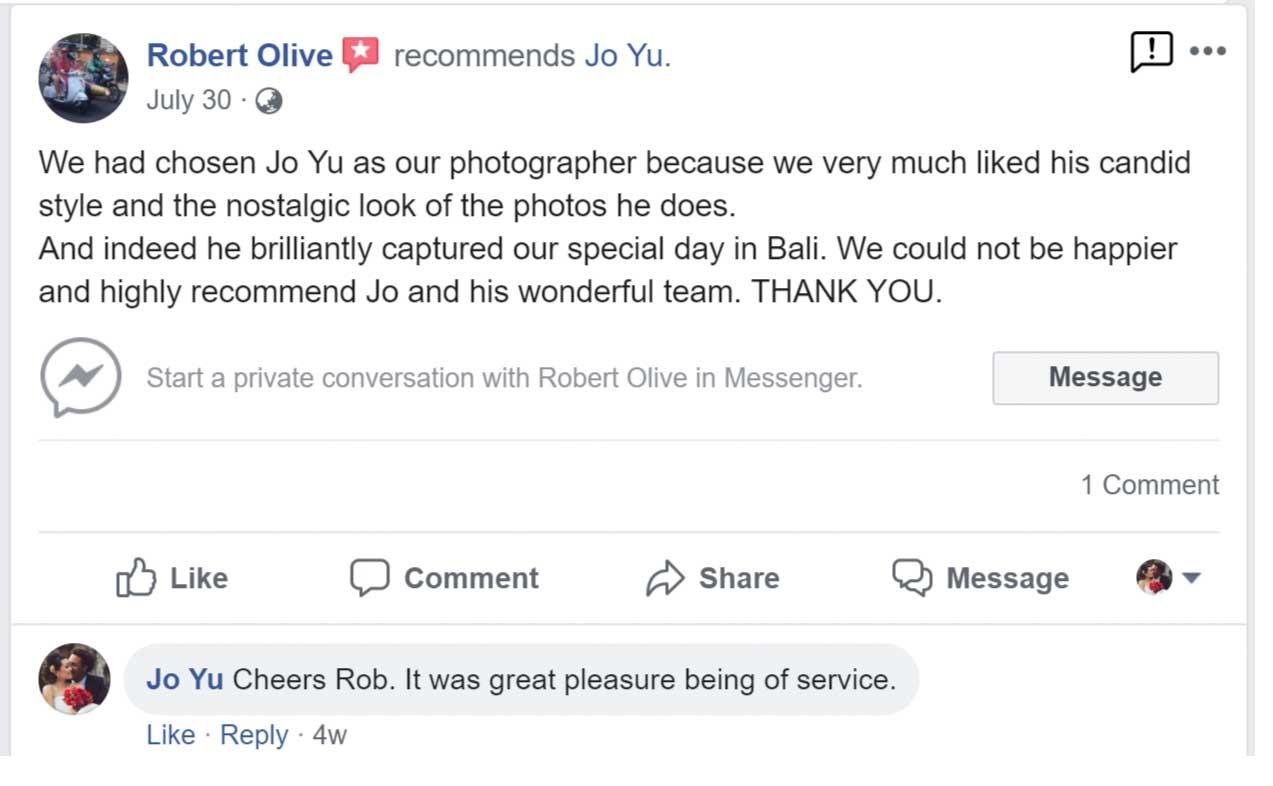 Jo Yu Bali wedding photographer testimonials