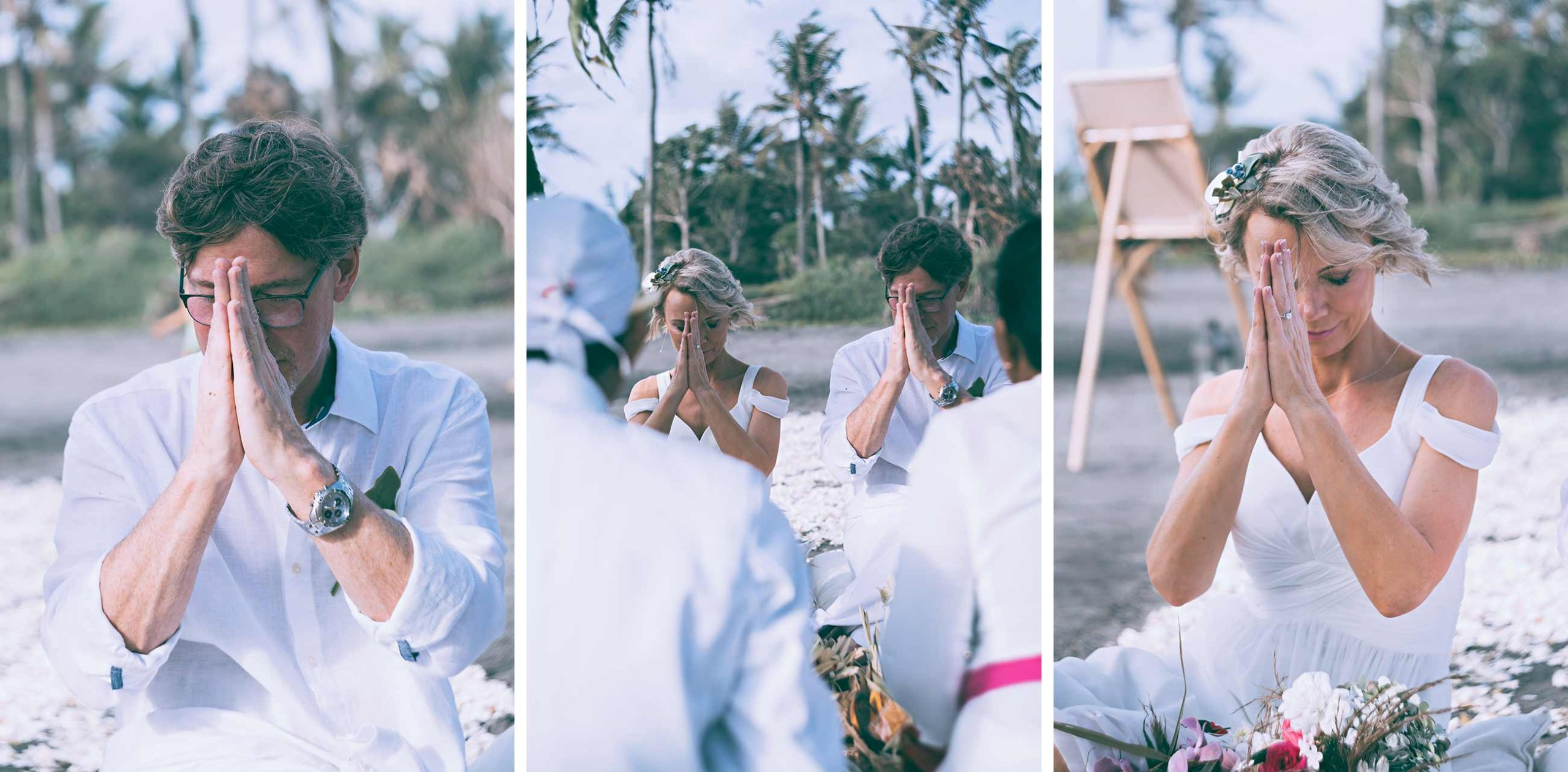 Prayers during a Balinese wedding ceremony
